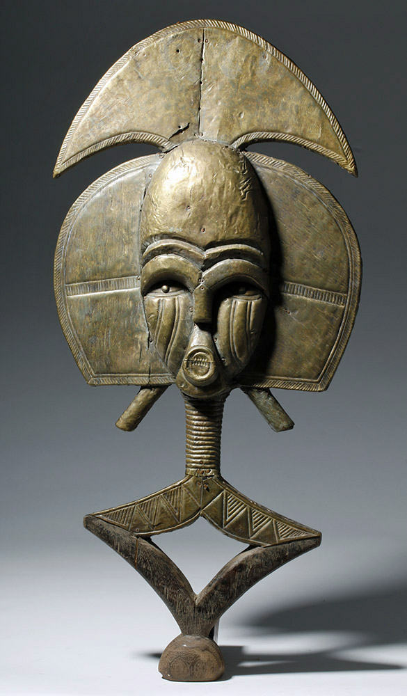 African Brass & Wood Bakota Reliquary