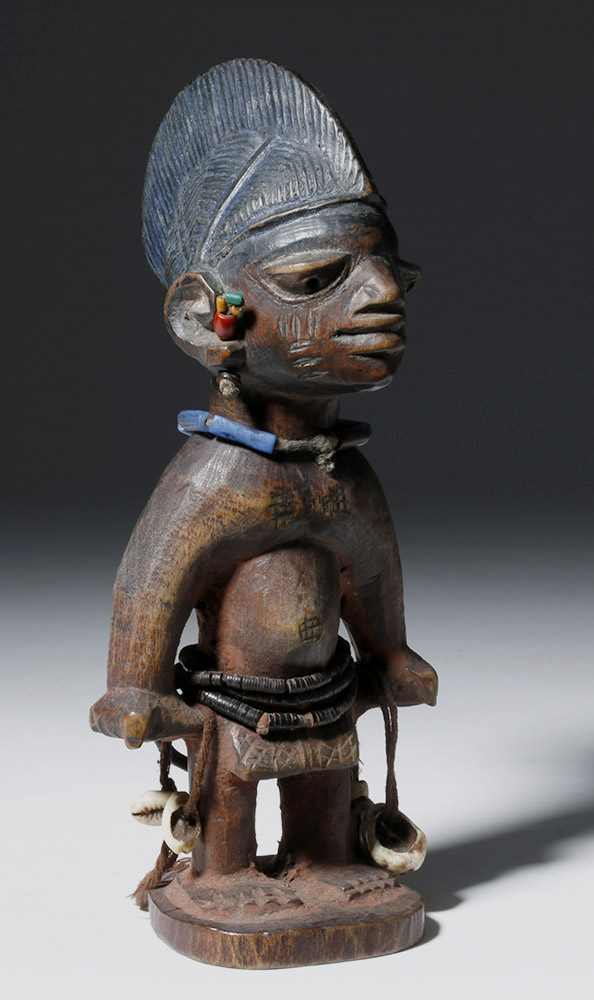 African Wooden Male Ibeji Twin