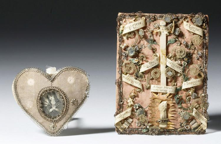 19th C. Italian Nun's Reliquary & Heart w/ Inscription