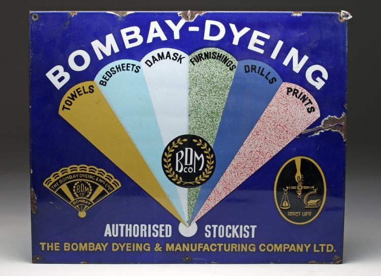 1940s Enamel Advertising Sign - Bombay Dyeing