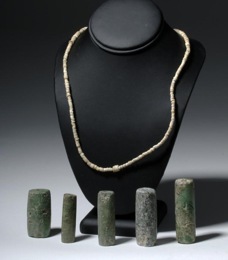 Ancient Colombian Necklace & Five Large Stone Beads