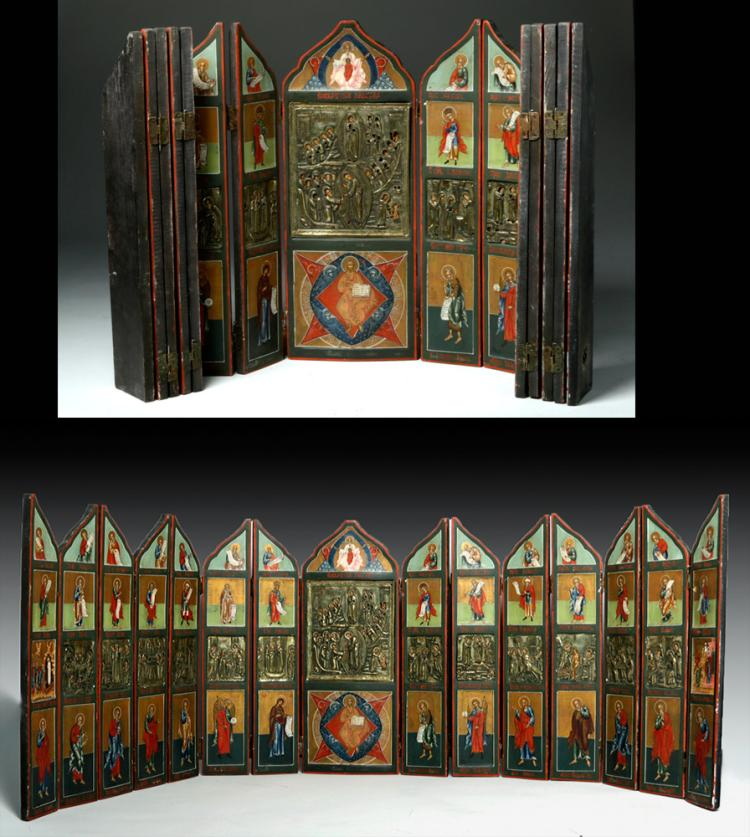 18th C. Russian Painted Wood Iconostasis, Brass Oklads