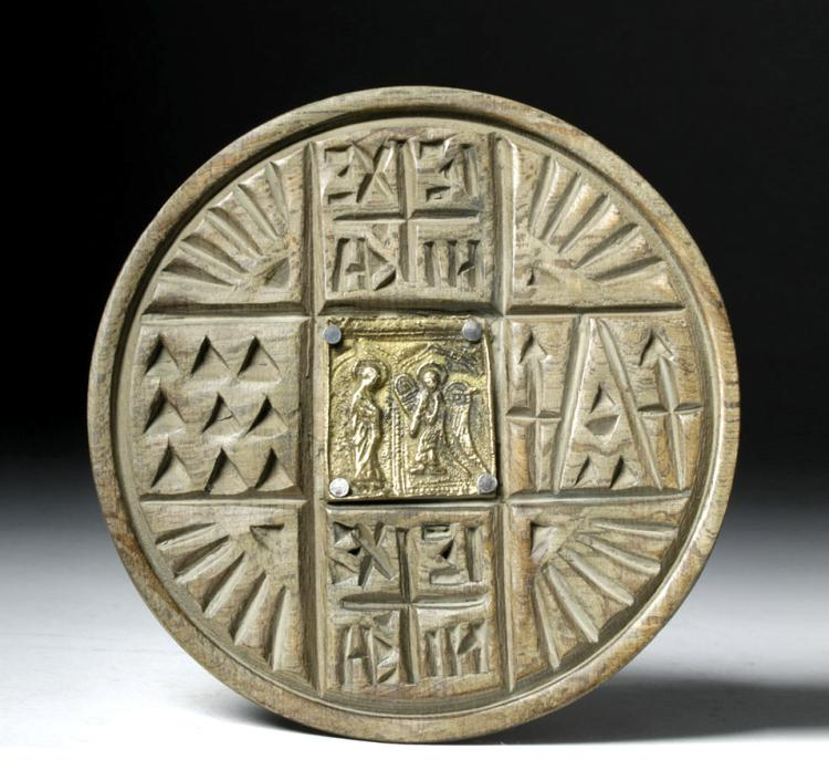18th C Greek Orthodox Wood Bread Stamp W Brass Icon