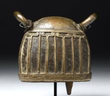 18th C. Nepalese Bronze Bell - Nice Design Motif