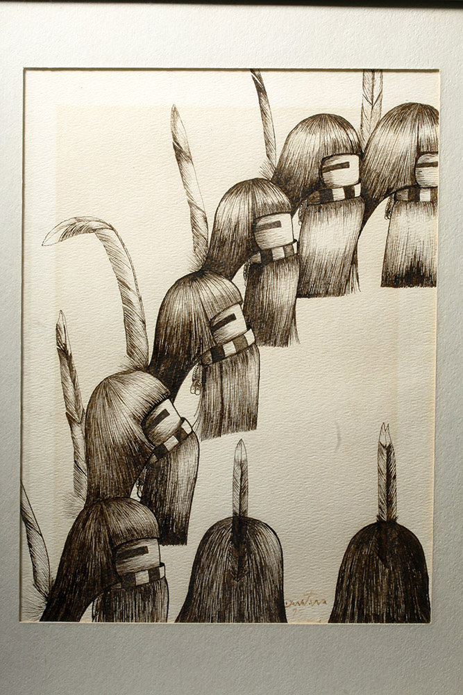 """Hopi """"Long Haired Dancers"""" Pen and Ink Drawing  Hopi Drawings"""