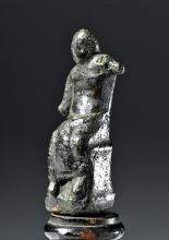 Roman Bronze Statue of a Seated God
