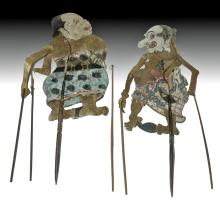 Pair of 20th C. Indonesian Leather Shadow Puppets