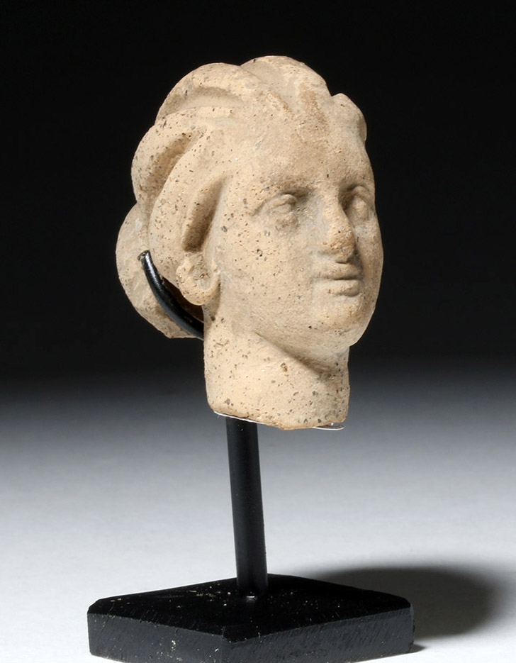 Beautiful Hellenistic Greek Pottery Head of Goddess
