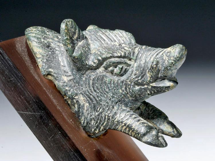Ancient Roman Bronze Figural Boar Protome