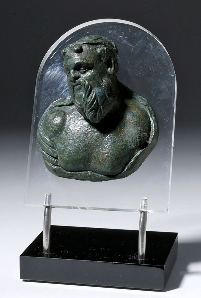 Fine Roman Bronze Bust Applique - Silenus