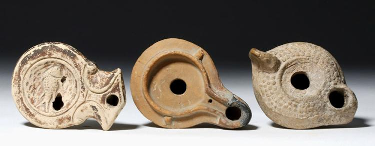 Lot of 3 Roman Pottery Oil Lamps