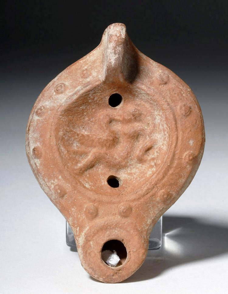Roman Pottery Oil Lamp - Leda & the Swan