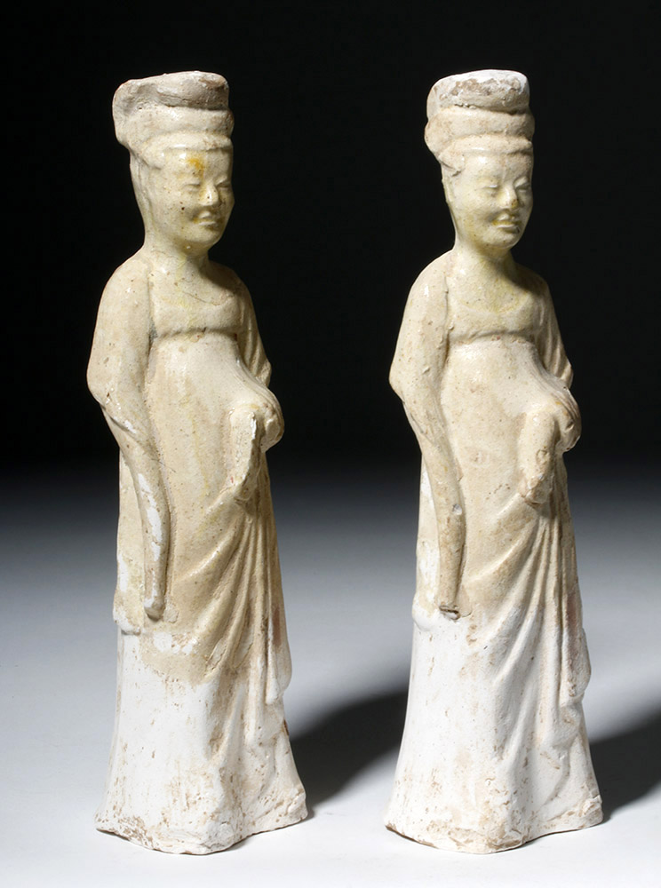 Two Sui Dynasty Straw Glazed Ladies