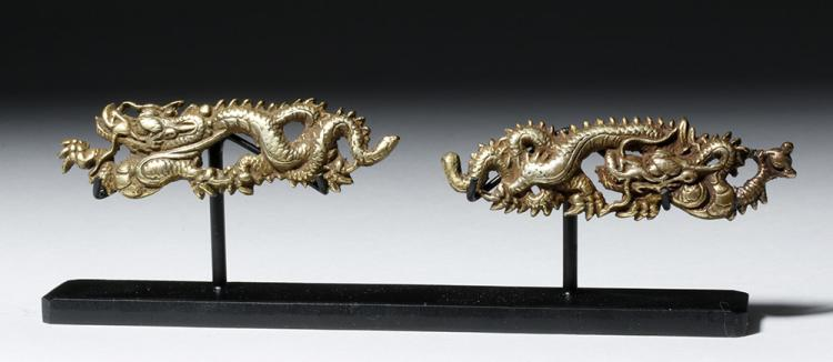 Fine Japanese Edo Bronze Menuki Sword Adornments (pr)