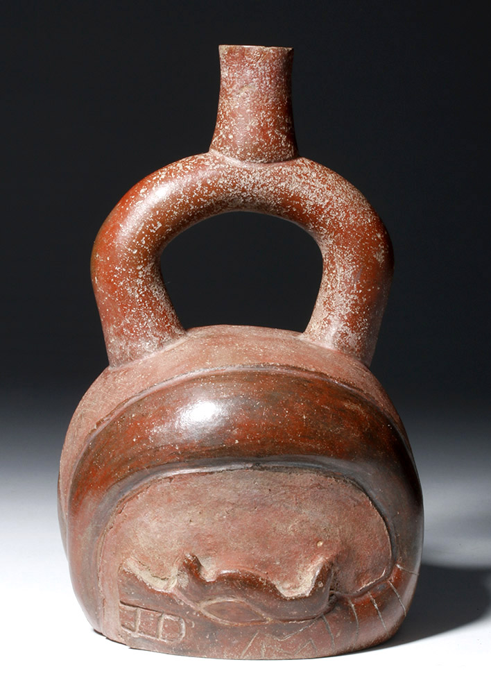 Chavin Redware Stirrup Vessel with Twin Snakes