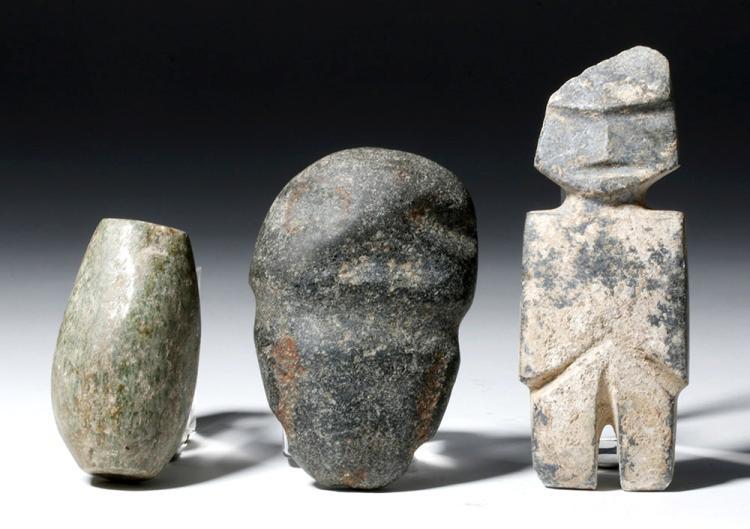 Lot of Three Mezcala Guerrero Stone Pieces