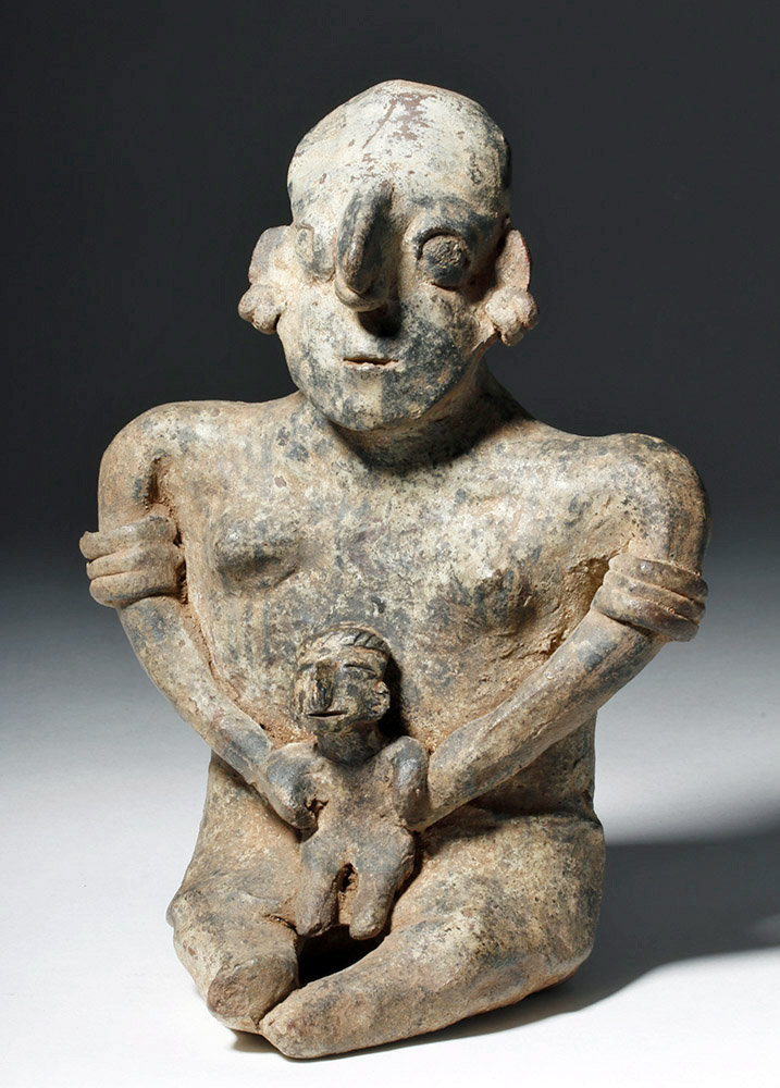 Adorable Nayarit Pottery Seated Mother & Child