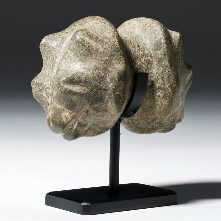 Colima Stone Mace Head - Double Frogs