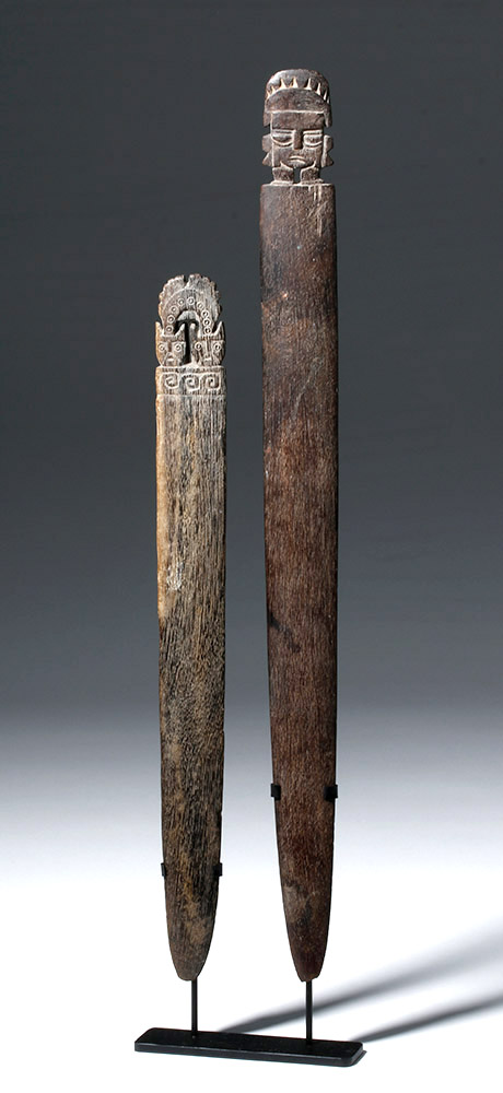 Pair of Fine Pre-Columbian Wooden Loom Sticks