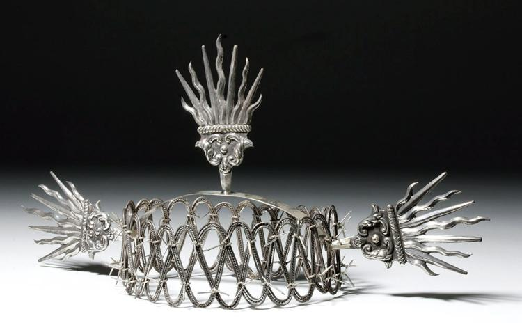 Stunning Spanish Colonial Silver Crown of Thorns