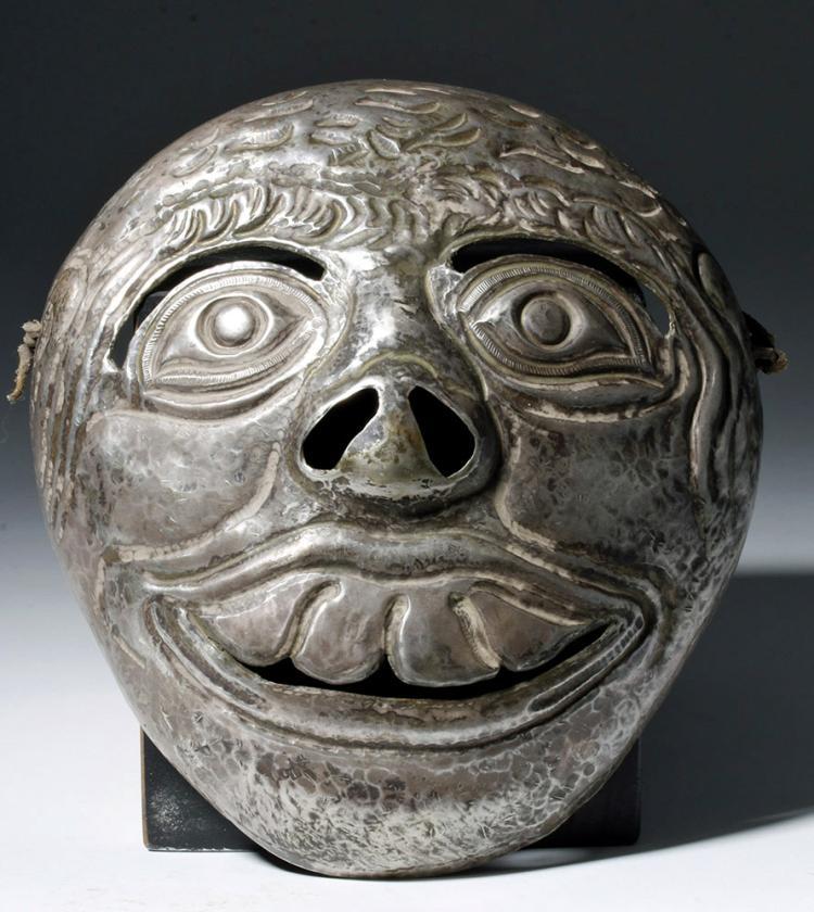 Rare 20th C. Peruvian Silver Mask - Macabre