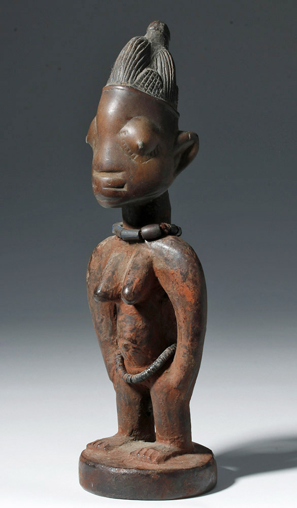 African Wooden Ibeji Twin Female Figure - Metal Pupils