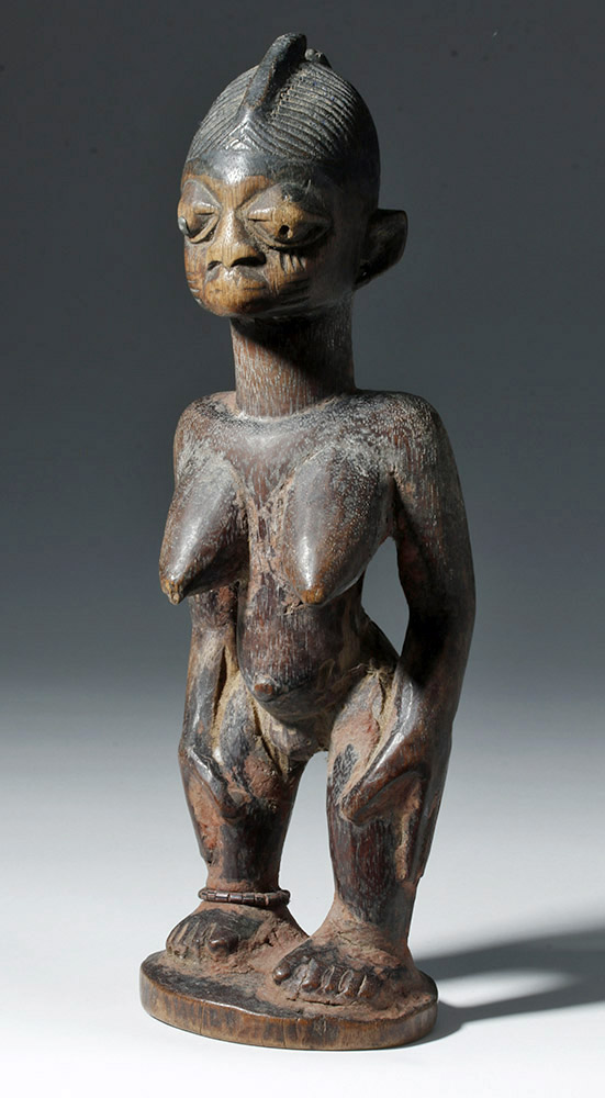 African Wooden Ibeji Twin Female Figure - Red Pigment