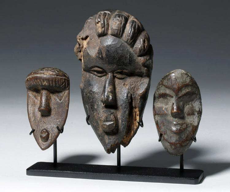 Three Authentic African Wooden Dan Passport Masks
