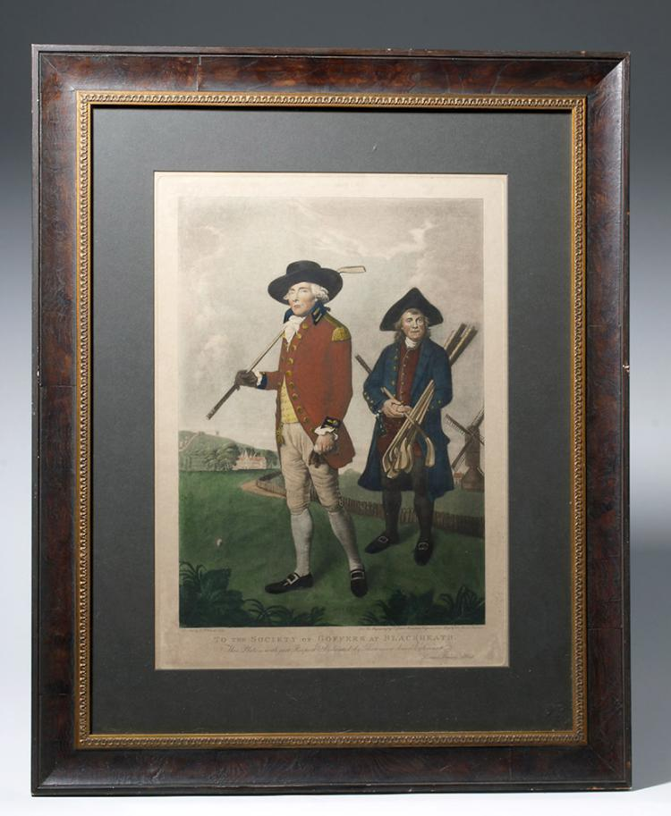 19th C. Tinted Mezzotint Engraving - Goffers (Golfers)