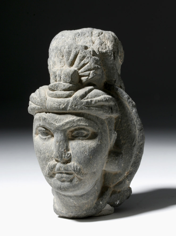 Expressive Gandharan Stone Fragment of a Prince