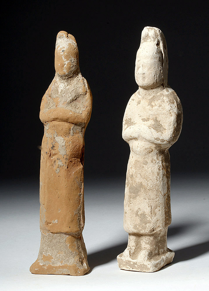 Pair of Chinese Tang Dynasty Pottery Female Attendants