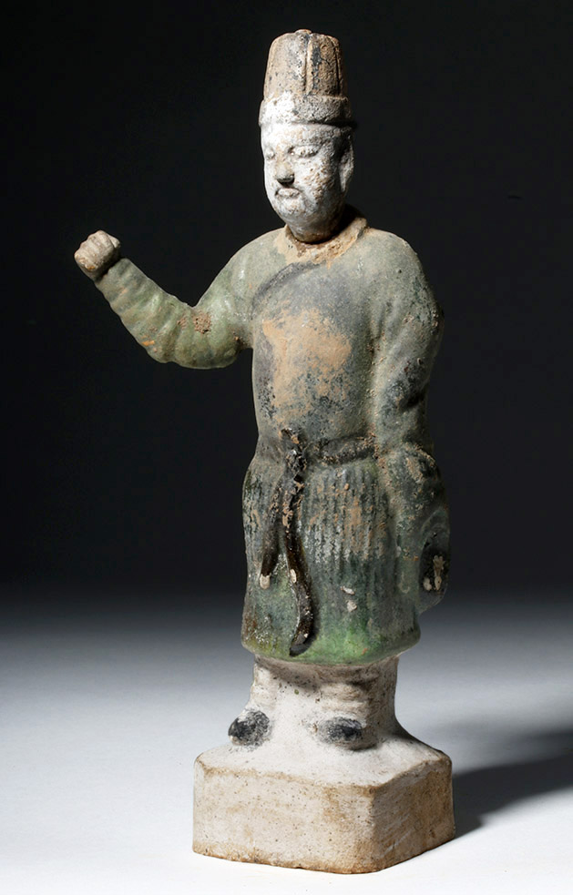 Chinese Ming Dynasty Glazed Pottery Attendant