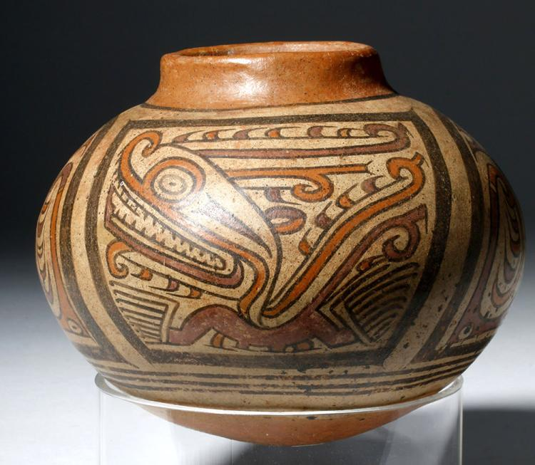 Lovely Cocle Polychrome Pottery Rounded Jar