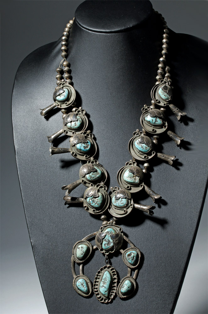 Early Navajo Silver Squash Blossom Necklace & Hair Pins