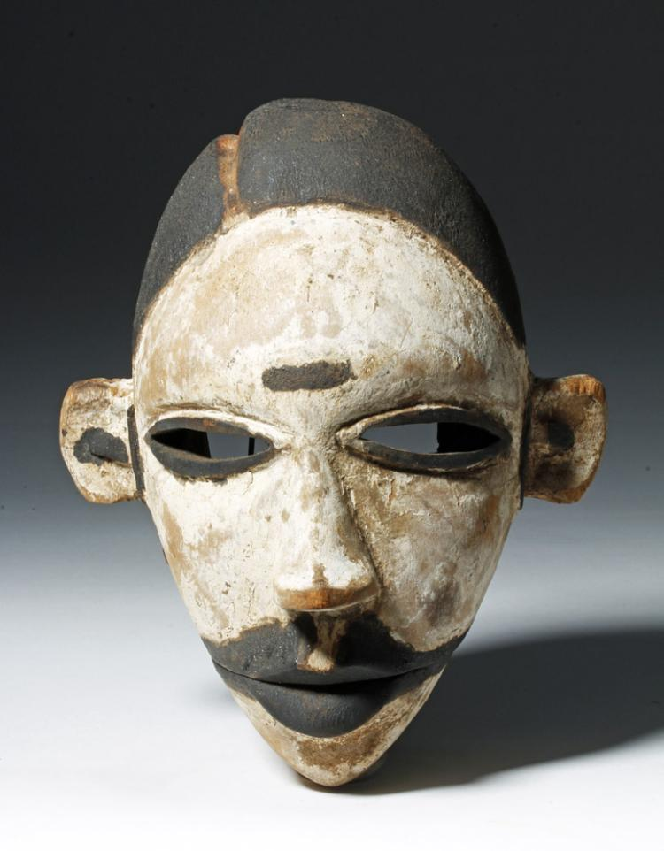 20th C. Nigeria Ogoni Painted Wood Mask Articulated Jaw