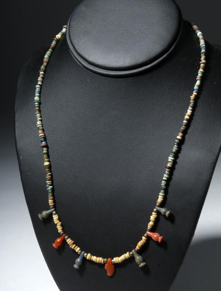 Gorgeous Egyptian Faience Necklace w/ 6 Poppy Amulets