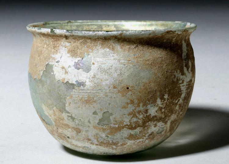 Beautiful Roman Green Glass Bowl w/ Incised Lines