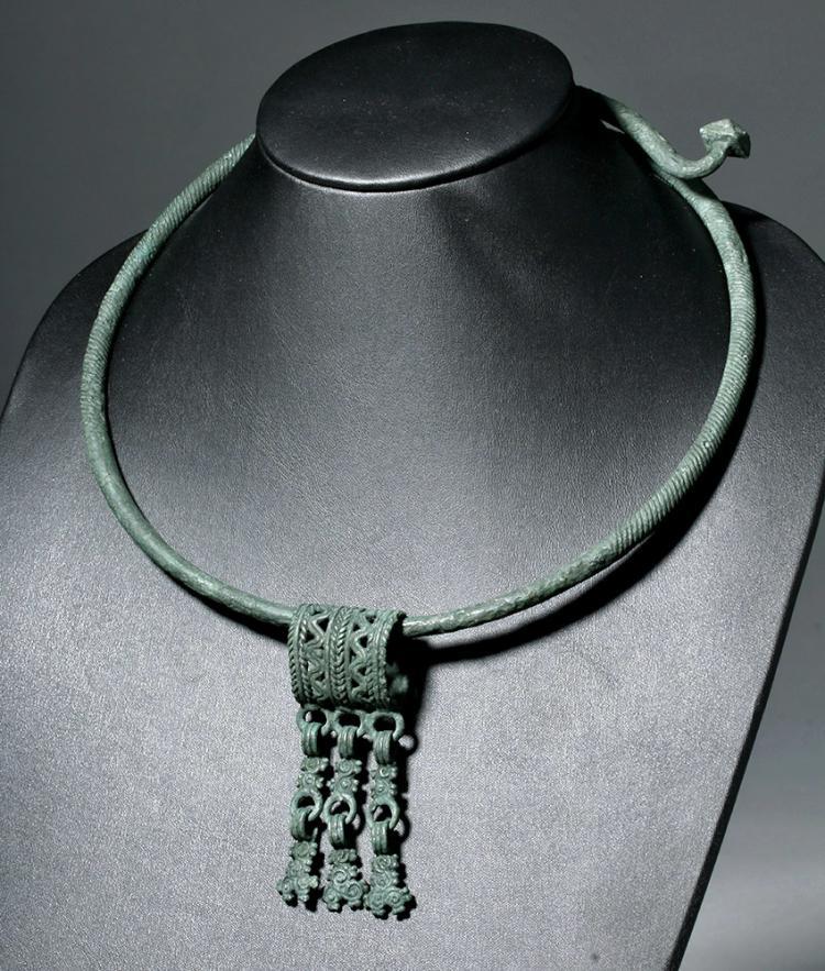 Important Finno-Ugric Bronze Torque w/ Pendant