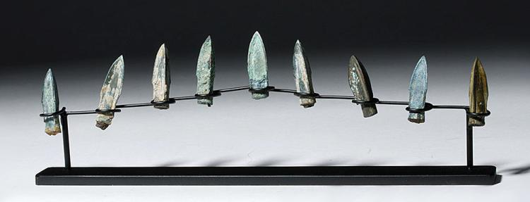 Nine Bronze Socketed Arrowheads