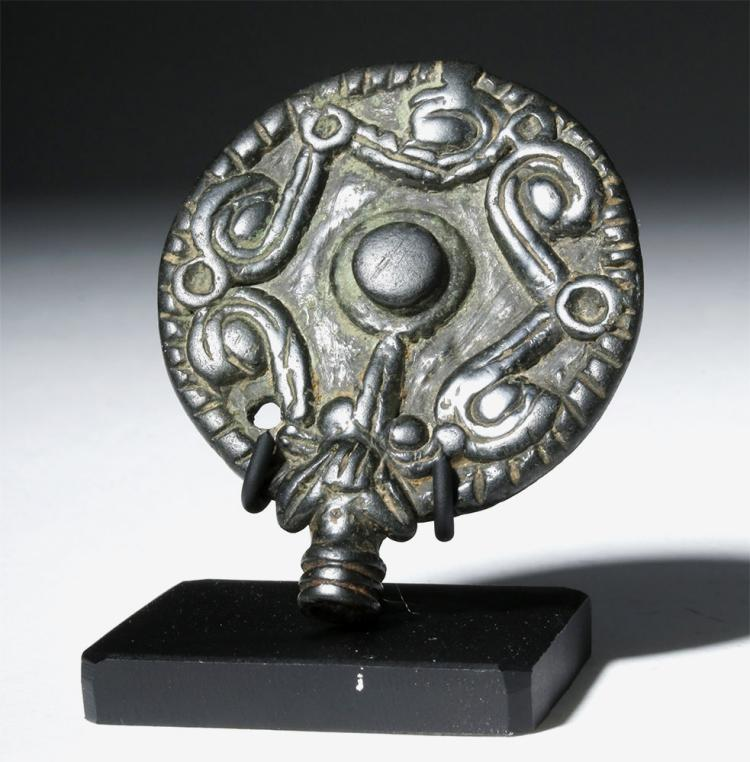 Luristan Bronze Disc Pin Head, ex-Christie's