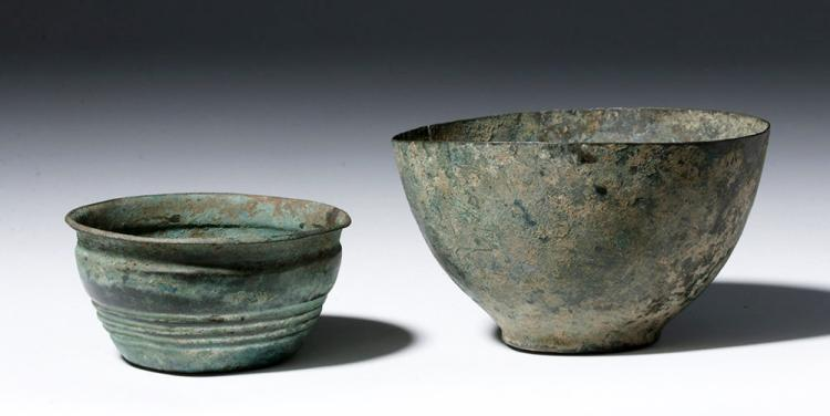 Two Luristan Deep Bronze Bowls