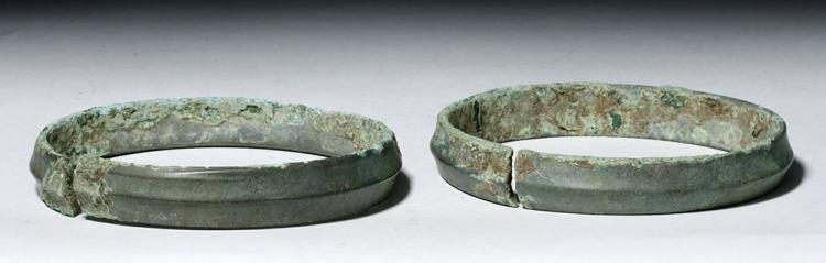 Two Heavy Ban Chiang Bronze Armbands - Lovely Patina