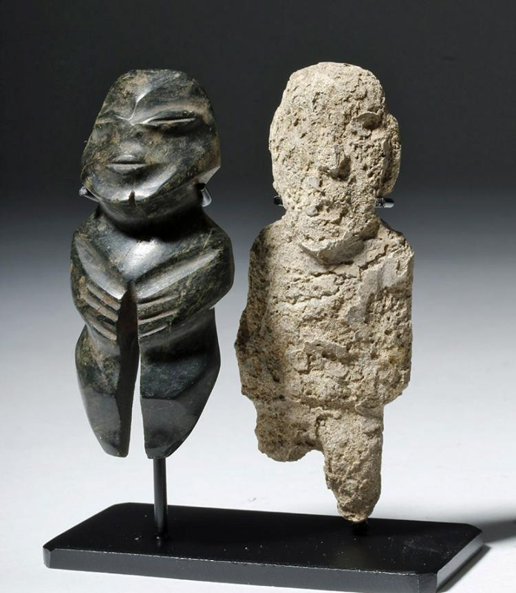 Pair of Mezcala Stone Figures, one Greenstone