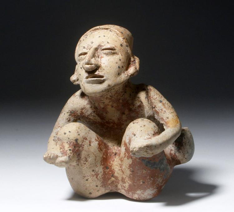 Unusual Jalisco Seated Pottery Carrier Figure with Bag