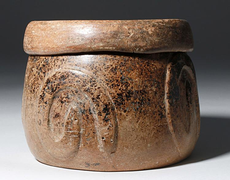 Rare Colima Pottery Lidded Drum - Snake Motif