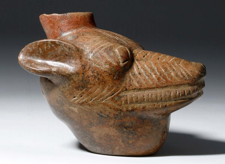 Colima Pottery Redware Dog Head Vessel