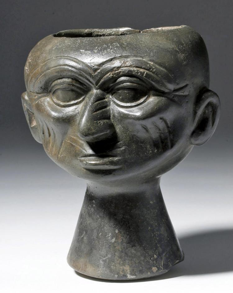 Moche Blackware Portrait Head Rattle