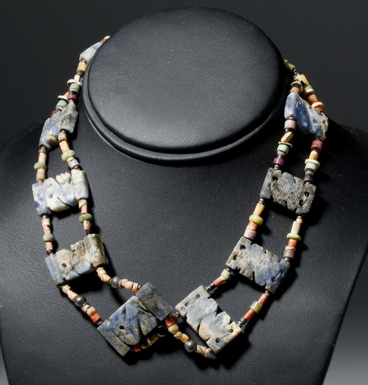 Lovely Moche Necklace w/ 9 Sodalite Bird Amulets