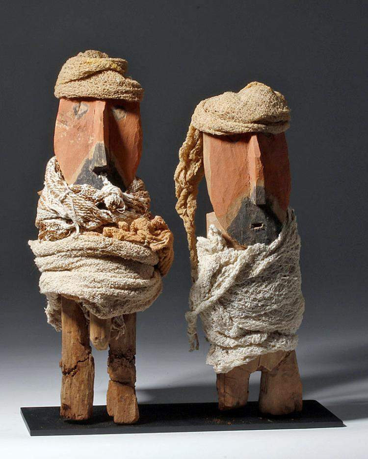 Chancay Painted Wood Figures - Male & Female