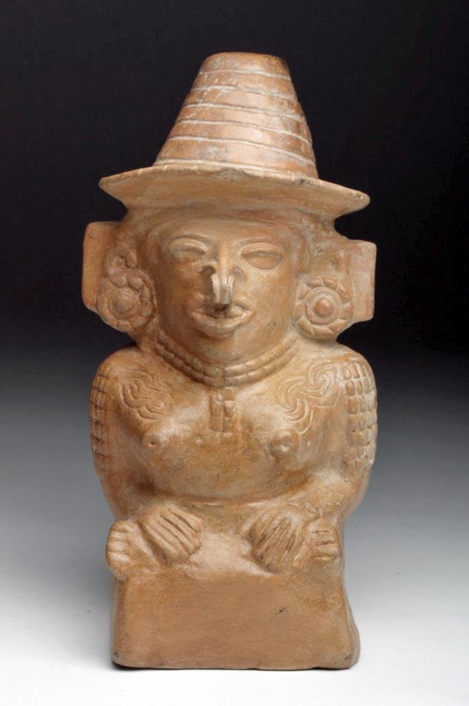 Mayan Toltec Seated Pottery Figure - Corn Goddess